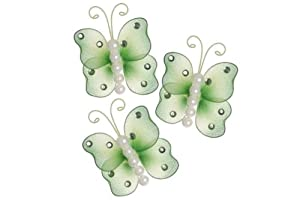 "Hanging nylon butterfly craft nursery bedroom girls room ceiling wall decor, wedding birthday party baby bridal shower decorations - 3"" pearl butterfly decoration - set of 3 - green"