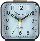 Travelwey Travel Hard Plastic Alarm Clock, 80mm by 44mm, Black Casing White Face