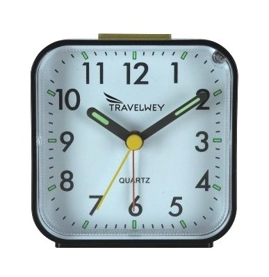 Travelwey Travel Hard Plastic Alarm Clock, 80mm by 44mm, Black Casing White Face