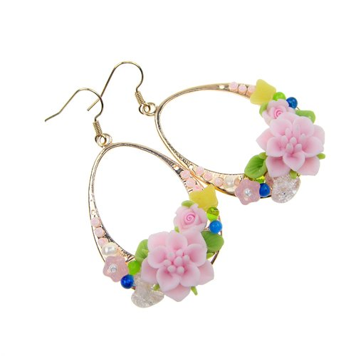 New Fashion Nickle-free Polymer Clay Flower Danfle Earrings- Limited Edition (Champagne Gold Pink)