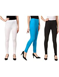 Svadhaa White Black Aqua Cotton Lycra Leggings(Pack Of 3)