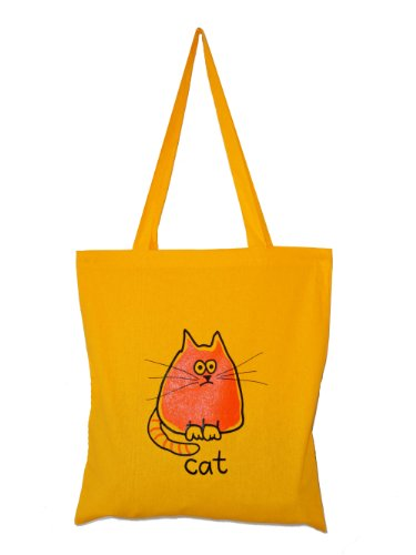 Meeow! CAT cotton Tote bag Yellow. Recycle!