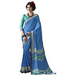 Appealing SkyBlue Colored Printed Satin Chiffon Saree