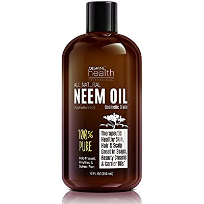 Neem Oil Organic & Wild Crafted Pure Cold Pressed Unrefined Cosmetic Grade 12 oz for Skincare, Hair Care, and Natural Bug Repellent by Oleavine