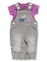 2 Piece Pure Cotton Beach Print Dungaree Outfit