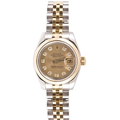 Rolex Ladys Style Heavy Band Stainless Steel & 18K Gold Datejust Model 179163 Jubilee Band Smooth Bezel Champagne Diamond Dial by Rolex