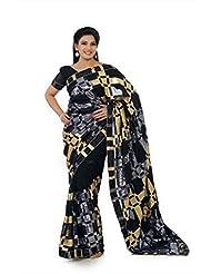 Designersareez Women Faux Georgette Embroidered Black Saree With Unstitched Blouse(1309)