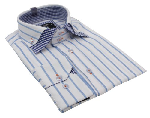Mens Italian Button Double Check Collar Stripe White & Blue Shirt Slim Fit Smart or Casual Cotton