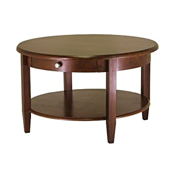 Antique Walnut Concord Round Coffee Table with Drawer and Shelf