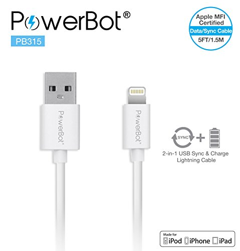 [Apple MFi Certified] PowerBot® PB315 (5ft) 1.5Meter 5' Premium Lightning Sync & Charge Data & Charging Cable for all Apple Lightning Device iPhone 6/ 6S/ 6S Plus, 5S/5C/5, iPad Air/Mini, iPod & More