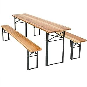 TecTake Ensemble table et bancs en bois pour chapiteau de fête jardin camping - 175 x 50 x 76 cm et 178 x 24,5 x 46 cm
