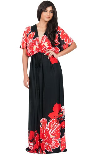 Koh Koh Women'S Kimono Sleeve V-Neck Flower Print Long Maxi Dress - 2Xlarge - Black With Red Flower