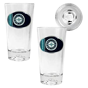MLB Seattle Mariners Two Piece Pint Ale Glass Set with Baseball Bottom - Oval Logo by Great American Products