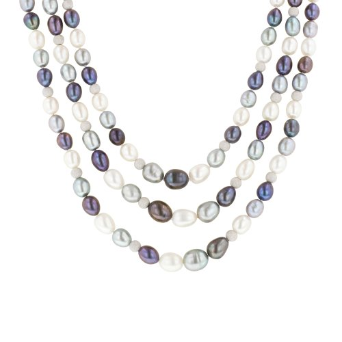 3-Row White, Grey and Peacock Freshwater Cultured Pearl Necklace