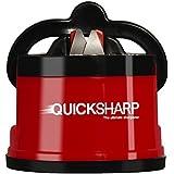 QUICKSHARP® Aiguiseur de Couteaux - Meilleur Affûteur pour votre Sécurité - Précis et Facile d'Utilisation avec sa Fixation Ventouse (Rouge)