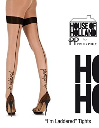 HOUSE OF HOLLAND FOR PRETTY POLLY...IM LADDERED TIGHTS, NUDE/BLACK, ONE SIZE