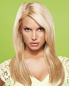 hairdo from Jessica Simpson and Ken Paves 22″ Vibralite Synthetic Clip-In Extension, Straight, Buttered Toast