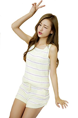 [Luce Miraco] Womens Nightgown Comfort Cotton Sexy Sleepwear Pajamas Tops (Yellow)