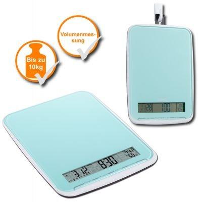 XL balance de cuisine multifonction très pratique-poids : 10 kg-avec surface en verre élégante et design bleu clair & neuf sous emballage original