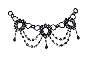 Black Beaded Eve Vintage Gothic Ring Gift Bridal Hippy Choker Necklace Jewellery