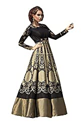 VH Fashion Women's New Black Colour Floor Touch Semi Stitched Designer Gown
