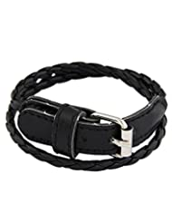 Young & Forever Black Multilayer Braided Belt Leather Bracelet For Women By CrazeeMania