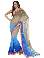 101cart Fabulous Dual Colored Stone Worked Faux Georgette Saree