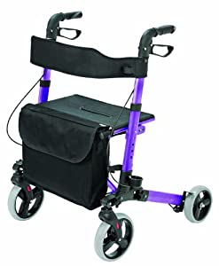 HealthSmart Aluminum Compact Lightweight Gateway Folding Rollator Walker, Purple