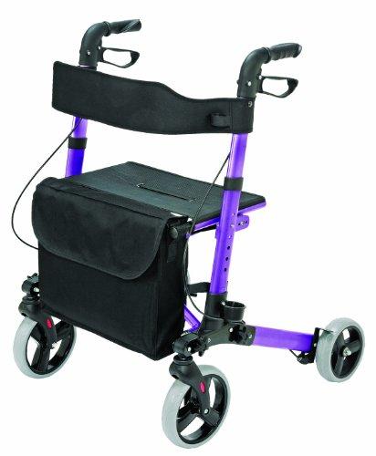 HealthSmart Aluminum Compact Lightweight Gateway Folding Rollator Walker, Purple
