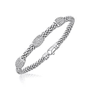 Sterling Silver Rhodium Popcorn Bangle with Diamond Barrel Stations (.18ct tw)