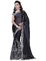 Shubhkari Fashion Women's Black Soft Net Designer Saree With Blouse Piece(BLACK_DESIGNER_SF_1001_,GIRLFRIEND)