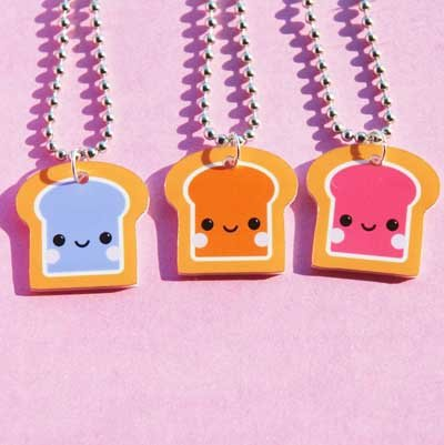 Peanut Butter and Jelly BFF Necklace - Set of 3