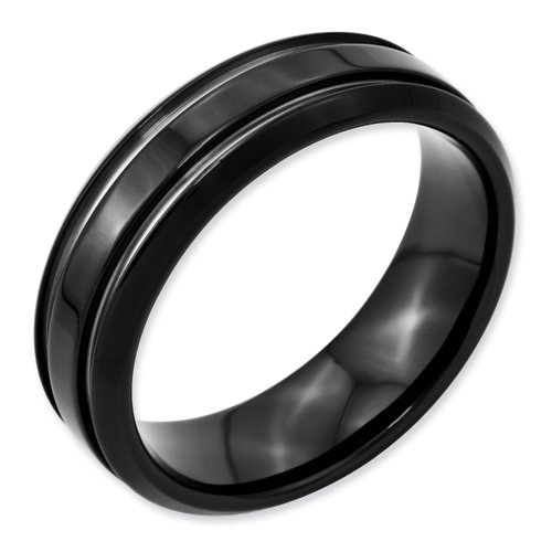 Stainless Steel Black Plated Grooved 7mm Band, Size 8.5