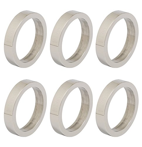 DII Napkin Rings for Dinners, Parties, Holidays, Everyday, for Dinners, Parties, Holidays, Everyday, Set of 6, Silver Circle