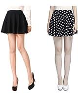 V28® Women Girls Stretch Waist Flared Plain Pleated Casual Mini Skater Skirt