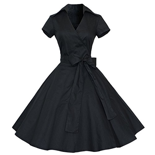 d772938b215df Dressystarレディース フォーマル 短袖 ボウ付け 女性ワンピース ドレス パーティー バー フォーマル 結婚式 発表