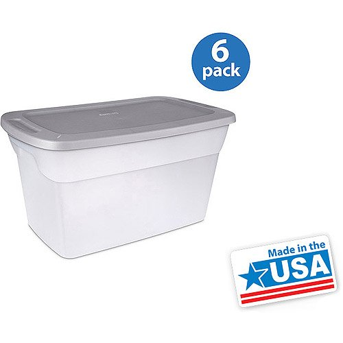 Sterilite 30 Gallon Tote Box- Clear, Set Of 6 (Storage Totes 30 Gallon compare prices)