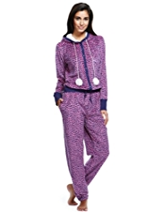 Hooded Heart Print Fleece Onesie