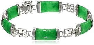 Sterling Silver Green Jade Asian Script Link Bracelet