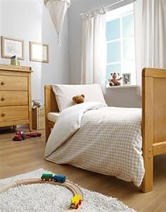 Beige Gingham Cot Bed/Junior Duvet Cover Set - 100% Cotton - Neutral/Unisex