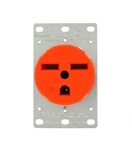 Leviton 5372-Ig 30 Amp, 250 Volt, Flush Mounting Receptacle, Straight Blade, Industrial Grade, Isolated Ground, Orange
