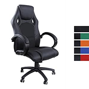 songmics noir chaise fauteuil de bureau avec haut dossier sport racing chaise de bureau simili. Black Bedroom Furniture Sets. Home Design Ideas
