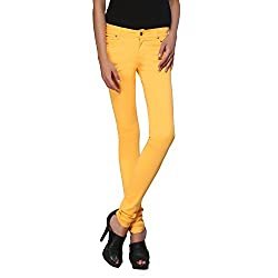 Zedon Yellow Basic Trousers For Women