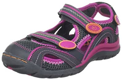 Stride Rite Renee Sandal (Toddler/Little Kid),Graphite/Hot Pink,8.5 M US Toddler