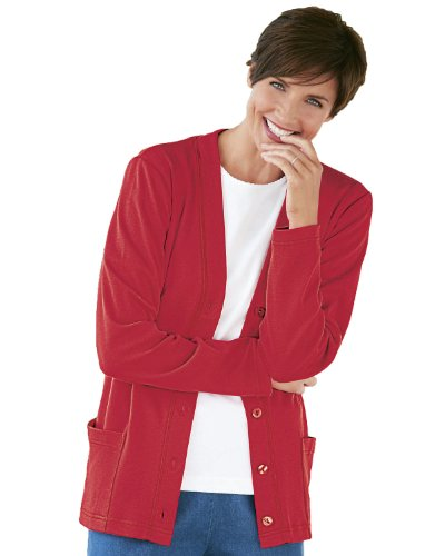 UltraSofts by National Button-Front Knit Cardigan, Red, 1X