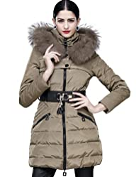 Maxchic Women's Raccoon Fur Trim Thickened Hooded Down Coat With Belt