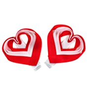 juDanzy set of 2 red heart valentine hair clips for baby girls, toddler, child