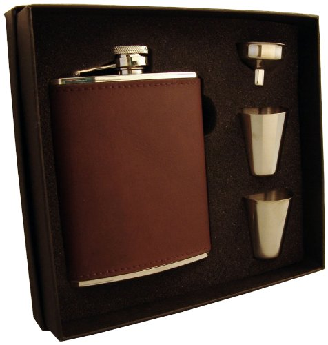 "Visol ""Kenton"" Leatherette Flask Gift Set, 6-Ounce, Brown Reviews"