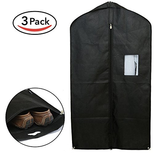 Home Haven Set of 3 Breathable Garment Bags for Storage and Travel - Gusseted Garment Bag Covers for Suit Carriers, Dress and Clothes - Suit Bag for Men (Black) (Garment Rack Bag compare prices)