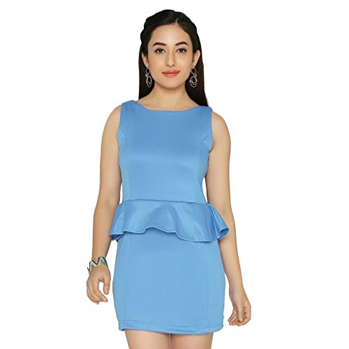 Chimpaaanzee Women Peplum Dress Blue